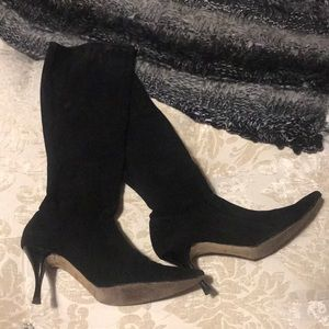 Manolo Blahnik Pascalare Knee High Boot Suede
